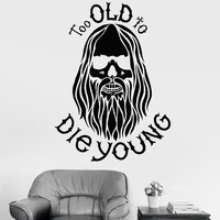 Vinyl Wall Decal Bearded Hippie Peace Man Weed Decor Stickers Mural Unique Gift (ig3343)