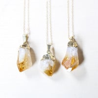 Gold Raw Citrine Crystal Necklace