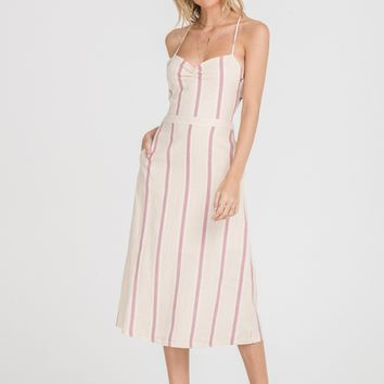 Striped Strappy Back Midi Dress