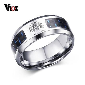 Vnox 8mm Carbon Fiber Ring For Man Engraved Tree Of Life Stainless Steel Male Alliance Casual Customize Jewelry Personalize Band