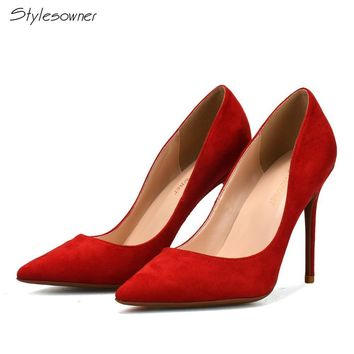 Stylesowner Classics Woman Thin High Heels Pumps 10CM Pointed Toe Women Shoes High Heels Red Blue Brown Shallow Shoes Heels