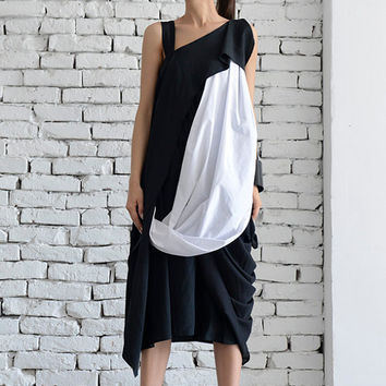 Black and White Dress / Long Black Dress / Maxi Black Dress / Asymmetric black dress / Asymmetrical white dress