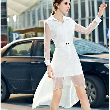 White Button-Up Collared A-Line Asymmetrical Dress