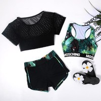 Verzy Summer Women Sport Yoga Set for Running Gym Sportswear Suit for Female Elastic Waist Yoga Suits Fitness Workout Clothing