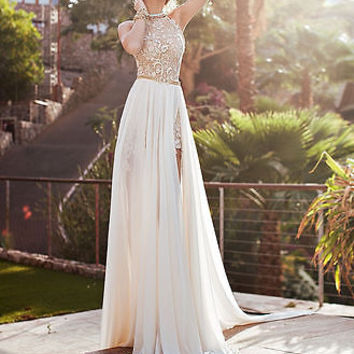 b66222a694f Sexy Lace Long Chiffon Evening Formal Party Cocktail Dress Bridesmaid Prom  Gown