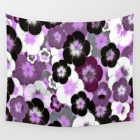 Purple Poppies Wall Tapestry by Colorful Art