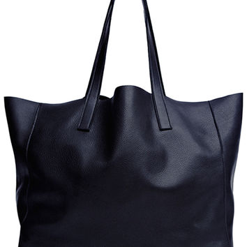 CLOVER LEATHER TOTE-navy-one