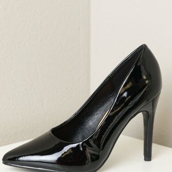Classic Pointed Toe Heel Wide Fit Patent Black