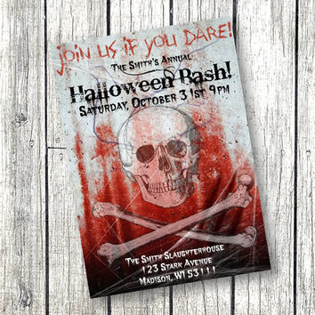 Adult Halloween Party Invitation Bloody Skulls scary halloween bash crossbones spooky haunted 5x7 printable invitation
