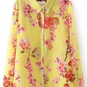 Yellow and Pink Floral Lapel Long Sleeve Blouse