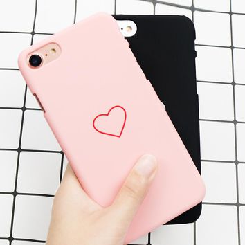 Original Hard Slim Plastic Candy color cover cases for iPhone 6 6s 7 8 plus Ultra Slim Lover Heart PC Matte Phone Cover