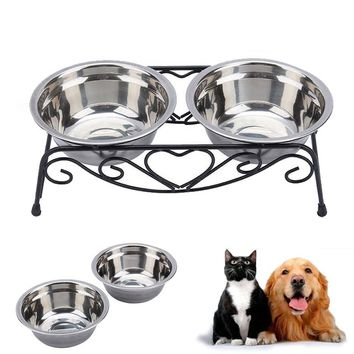 Stainless Steel Double Dog Cat Food Water Bowls Feeder Shelf Stand