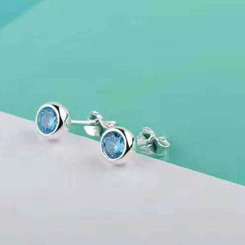 Tiffany & Co. Mini Blue Diamond White Diamond Stud Earrings