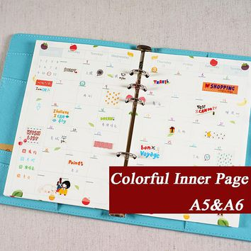 Kawaii Cute Flower Colorful Refiller Paper Monthly Weekly To Do List Gird Kraft Inner Page For Binder Notebook Matching Filofax