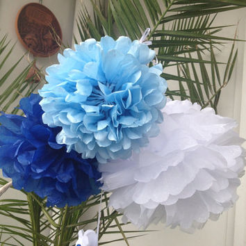 "Set of 6 Tissue Pom Poms Party Decoration Paper Pompoms Tissue Poms Wedding Decorations Ceremony Decor Paper Flower 12""10"" 8"" White Blue Sky"