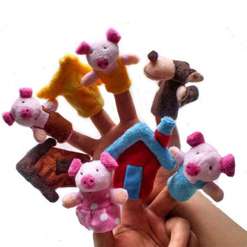 8pcs Finger Hand Puppets Plush Toys For Kids Animal Pig House Finger Gloves puppets baby reborn dolls Education Toy Gift WOct1