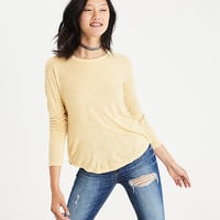 AEO Soft & Sexy Long-Sleeve Favorite T-Shirt, Yellow