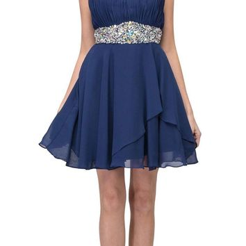 Short Chiffon Semi Formal Dress Navy Blue Rhinestone Waist