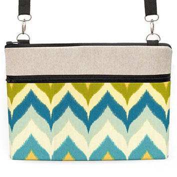 "Macbook 13"" Shoulder Bag, 13"" Laptop Cross body Bag, 13 inch MacBook Crossbody, Laptop Zipper Case - blue, yellow, chevron"