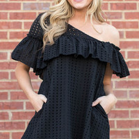 Black Asymmetrical Eyelet Dress