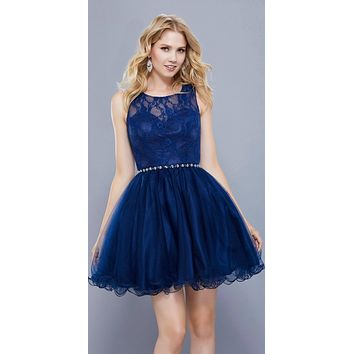Navy Blue Lace Bodice Homecoming Short Dress Embellished Waist