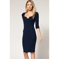 Neckline Navy Pencil Dress LAVELIQ