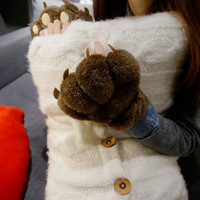 Cute cartoon cat claw half finger gloves