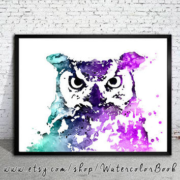 Owl 9 Watercolor Print, watercolor painting,watercolor art, Illustration, art, watercolor animal,bird art,bird watercolor,Owl art, Owl print
