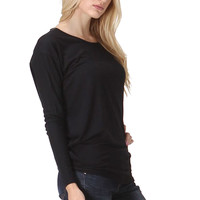 Long Sleeve Hi-Low Stretch Knit Tunic Top