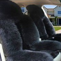 Single Car Seat Cushion Sheepskin Car Seat Cover Soft Wool Car Seat Covers (black B)