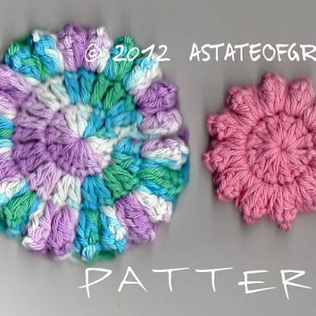 Pattern/ Cluster Stitch Facial Scrubbie / 2 sizes / Crochet Pattern / TREASURY Item - INSTANT DOWNLOAD