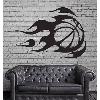 Wall Sticker Vinyl Decal Mural Sport Basketball Fire Ball Unique Gift (z312)