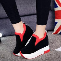 2018 Women Increased Shoes Women Fashion  Platform Loafers Printed Casual  Shoes Woman  Wedges Shoes Breathable Black  Red 35-39