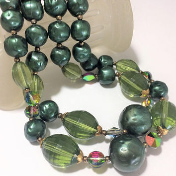 Olive Green Lucite Bead Necklace Aurora Borealis Glass Beads Green Faux Pearls Multi Strand Mid Century Jewelry 518m