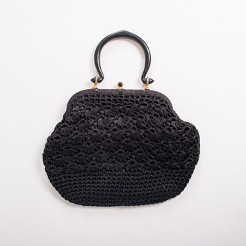 1960's Black Crochet Purse - Vintage 60's Mod Woven Mad Men Art Deco Small Bag
