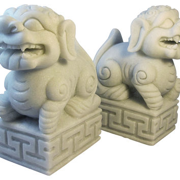 Pair of Marble Foo Dogs, White, Busts, Statues & Statuettes