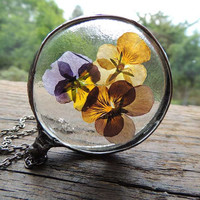 pansy, glass necklace, Real flowers Necklace, terrarium necklace ,real plant jewelry, bohemian necklace