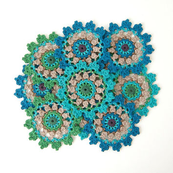 Crochet PATTERN for Coasters or Doily Motif. Clear photo tutorial. They look lovely in peacock style - Original Design by TheCurioCraftsroom