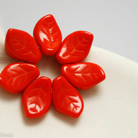 Bright Red Czech Glass Leaf Beads 15mm (16) Hot Opaque Pressed Leaves Christmas