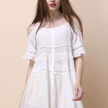 Leisure Holidays Cold-shoulder Dress in White