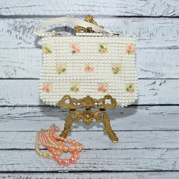 Darling 50s Grandee Bead Purse - White, Pink, Green - Lovely Condition