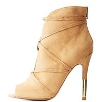 QUPID CAGED PEEP TOE STILETTO BOOTIES