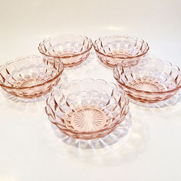 Pink Depression Glass Berry Bowl, Vintage Pink Glass Dessert Bowl 5 Available