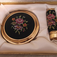 Unused excellent condition Mascot petit point compact and lipstick holder with box, sifter & label. Anniversary, birthday, bridesmaid gift