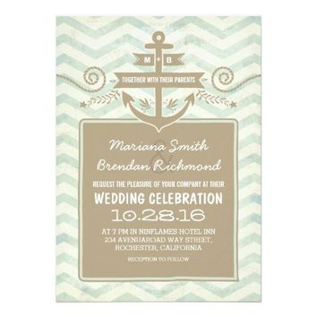 Chevron nautical anchor wedding invitations