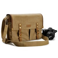 ZLYC Vintage Leather Canvas Camera Messenger Shoulder Bag for DSLR Camera Lens