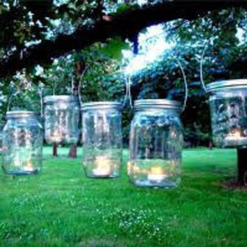 SALE set of 3 Mason Jar lanterns with candles by GourmetSkinCare