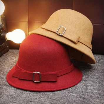 Europe England Style Autumn Winter Hat For Women Fedora Hat Woman Wide Brim Wool Felt Bowknot Fedoras Vintage Ladies bonnet Cap