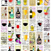 booze alcohol sheet music domino collage sheet 1 x 2 inch clipart digital downloadable images beer wine craft pendant pins printables