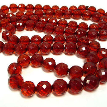 Vintage Bakelite Necklace - Faceted Cherry Amber Beads